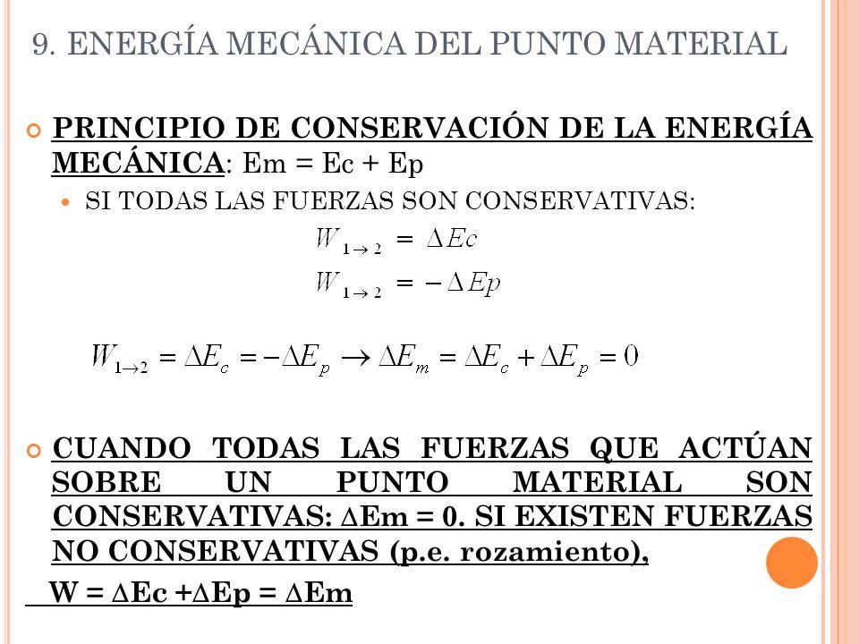 9. ENERGÍA MECÁNICA DEL PUNTO MATERIAL PRINCIPIO DE CONSERVACIÓN DE LA ENERGÍA MECÁNICA : Em = Ec + Ep SI TODAS LAS FUERZAS SON CONSERVATIVAS: CUANDO