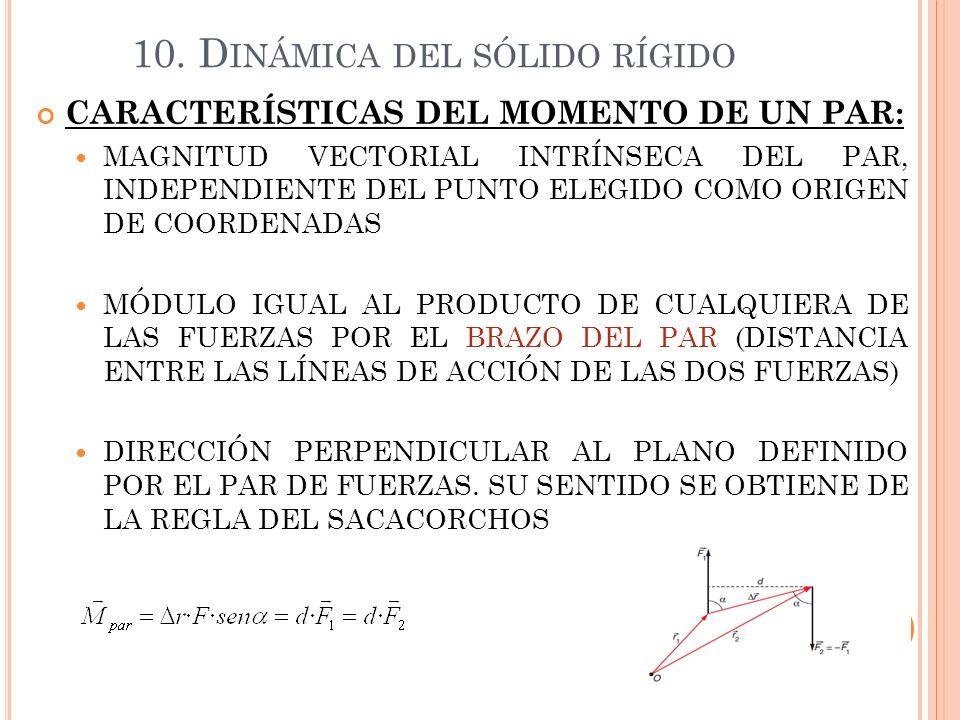 10. D INÁMICA DEL SÓLIDO RÍGIDO CARACTERÍSTICAS DEL MOMENTO DE UN PAR: MAGNITUD VECTORIAL INTRÍNSECA DEL PAR, INDEPENDIENTE DEL PUNTO ELEGIDO COMO ORI