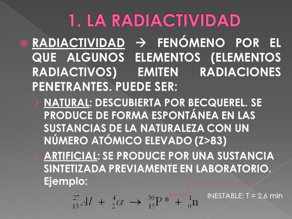 RADIACTIVIDAD FENÓMENO POR EL QUE ALGUNOS ELEMENTOS (ELEMENTOS RADIACTIVOS) EMITEN RADIACIONES PENETRANTES. PUEDE SER: NATURAL: DESCUBIERTA POR BECQUE