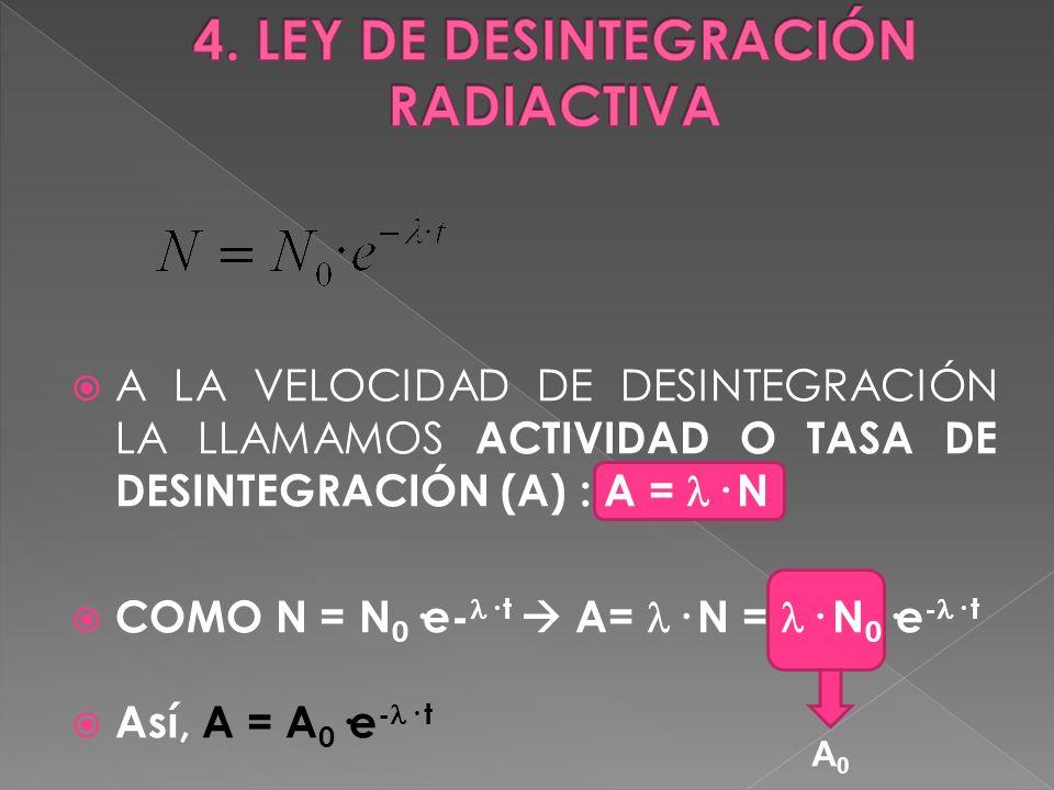 A LA VELOCIDAD DE DESINTEGRACIÓN LA LLAMAMOS ACTIVIDAD O TASA DE DESINTEGRACIÓN (A) : A = · N COMO N = N 0 ·e- · t A= · N = · N 0 ·e - · t Así, A = A