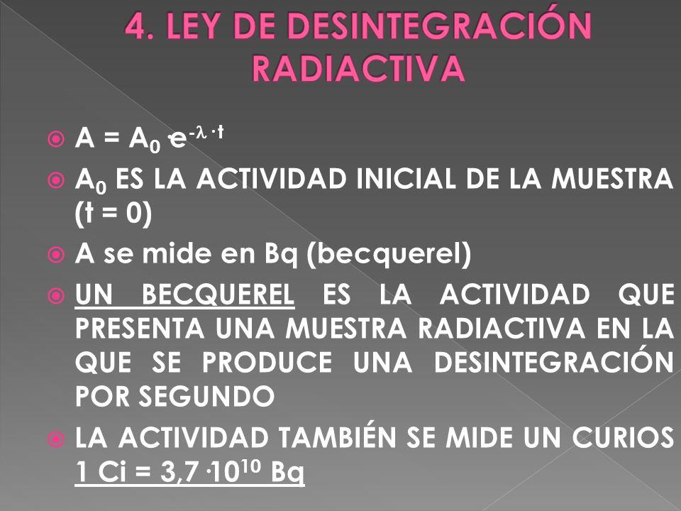 A = A 0 ·e - · t A 0 ES LA ACTIVIDAD INICIAL DE LA MUESTRA (t = 0) A se mide en Bq (becquerel) UN BECQUEREL ES LA ACTIVIDAD QUE PRESENTA UNA MUESTRA R
