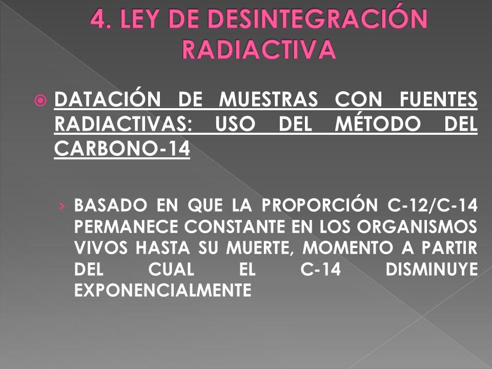 DATACIÓN DE MUESTRAS CON FUENTES RADIACTIVAS: USO DEL MÉTODO DEL CARBONO-14 BASADO EN QUE LA PROPORCIÓN C-12/C-14 PERMANECE CONSTANTE EN LOS ORGANISMO