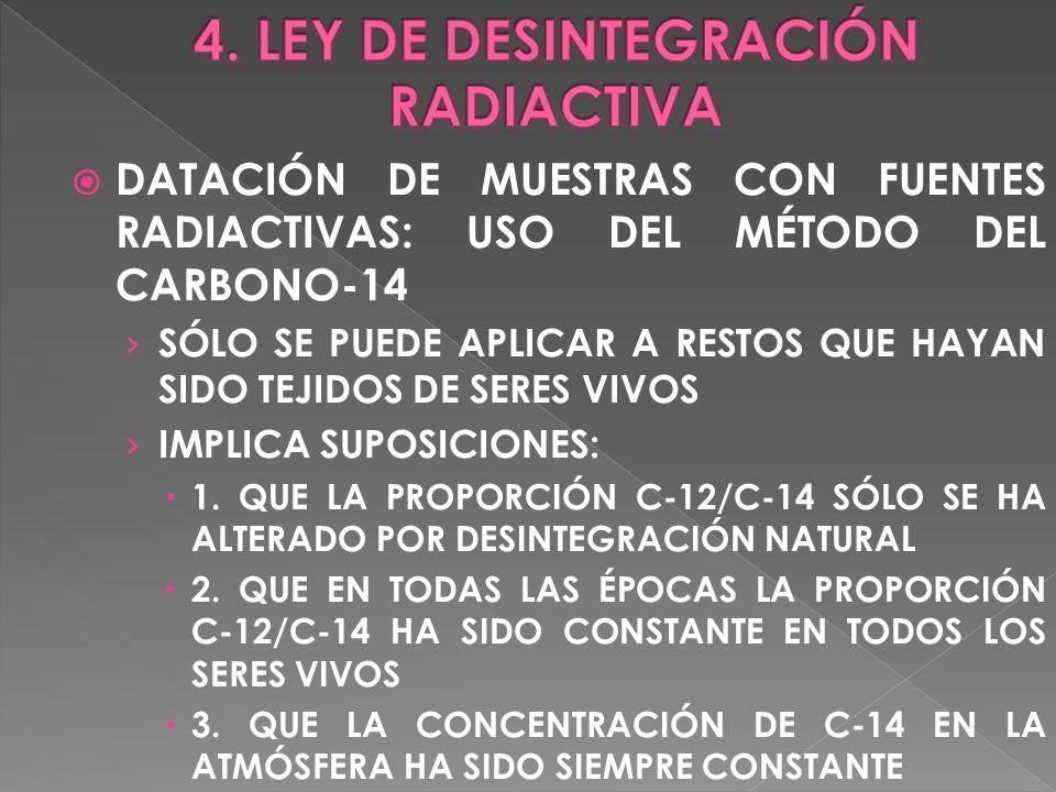 DATACIÓN DE MUESTRAS CON FUENTES RADIACTIVAS: USO DEL MÉTODO DEL CARBONO-14 SÓLO SE PUEDE APLICAR A RESTOS QUE HAYAN SIDO TEJIDOS DE SERES VIVOS IMPLI