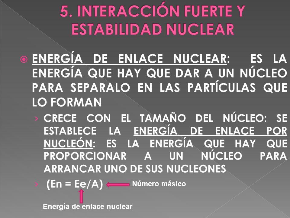 ENERGÍA DE ENLACE NUCLEAR: ES LA ENERGÍA QUE HAY QUE DAR A UN NÚCLEO PARA SEPARALO EN LAS PARTÍCULAS QUE LO FORMAN CRECE CON EL TAMAÑO DEL NÚCLEO: SE