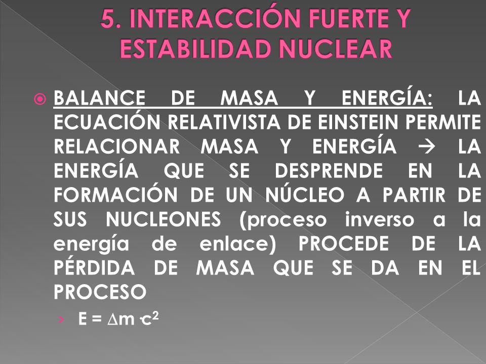 BALANCE DE MASA Y ENERGÍA: LA ECUACIÓN RELATIVISTA DE EINSTEIN PERMITE RELACIONAR MASA Y ENERGÍA LA ENERGÍA QUE SE DESPRENDE EN LA FORMACIÓN DE UN NÚC