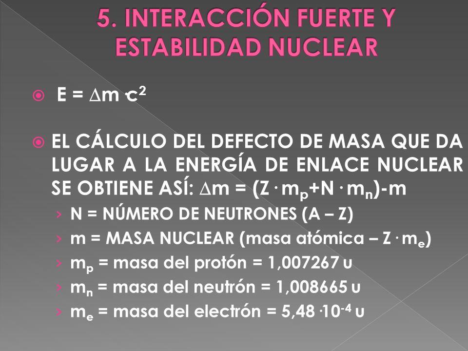 EL CÁLCULO DEL DEFECTO DE MASA QUE DA LUGAR A LA ENERGÍA DE ENLACE NUCLEAR SE OBTIENE ASÍ: m = (Z· m p +N· m n )-m N = NÚMERO DE NEUTRONES (A – Z) m =