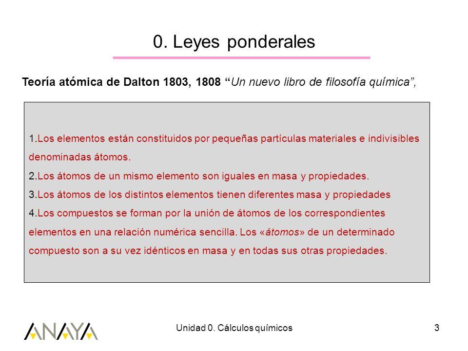 Unidad 0. Cálculos químicos3 0. Leyes ponderales Teoría atómica de Dalton 1803, 1808 Un nuevo libro de filosofía química, 1.Los elementos están consti