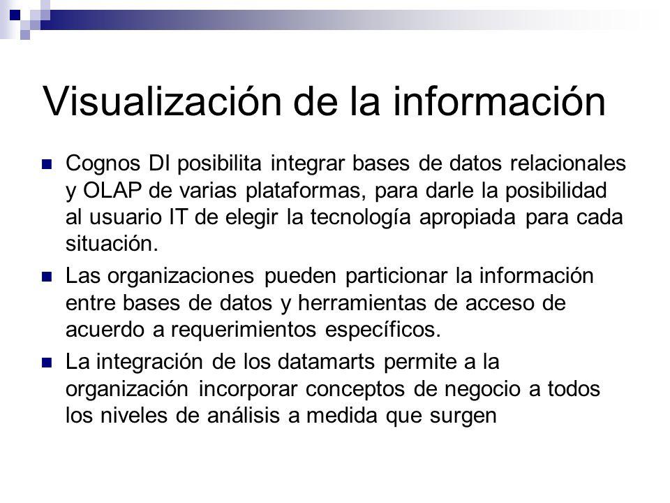 Visualización de la información Cognos DI posibilita integrar bases de datos relacionales y OLAP de varias plataformas, para darle la posibilidad al u