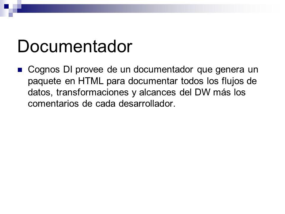 Documentador Cognos DI provee de un documentador que genera un paquete en HTML para documentar todos los flujos de datos, transformaciones y alcances