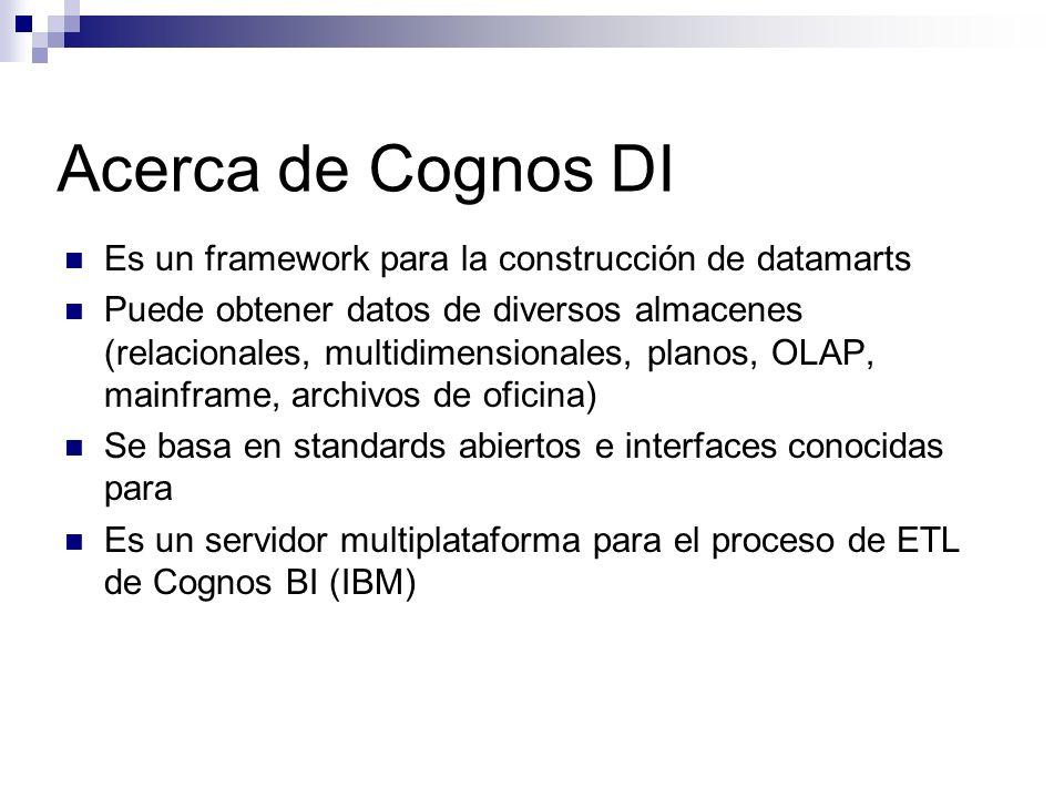 Es un framework para la construcción de datamarts Puede obtener datos de diversos almacenes (relacionales, multidimensionales, planos, OLAP, mainframe