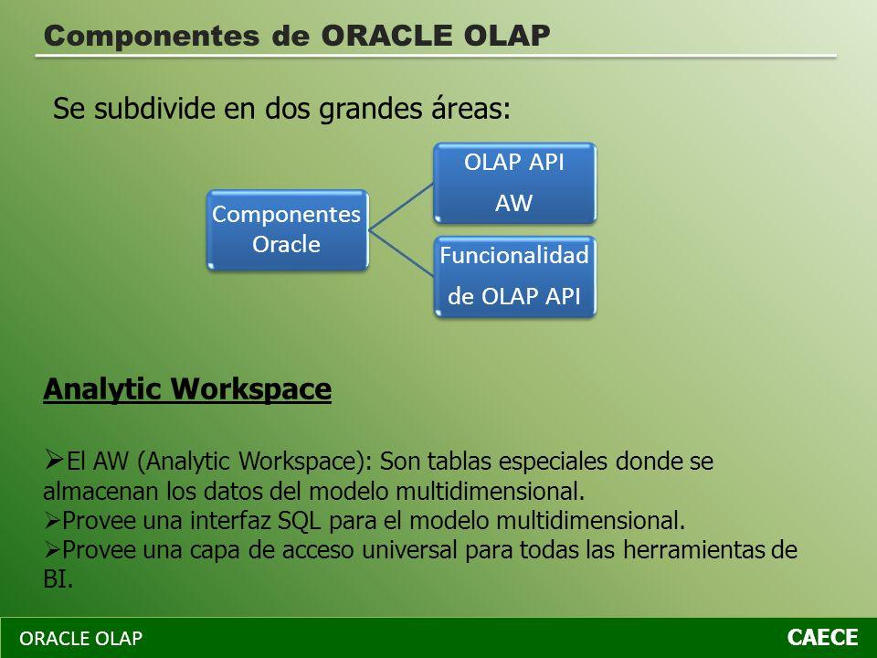 ORACLE OLAP CAECE Componentes de ORACLE OLAP Se subdivide en dos grandes áreas: Analytic Workspace El AW (Analytic Workspace): Son tablas especiales d