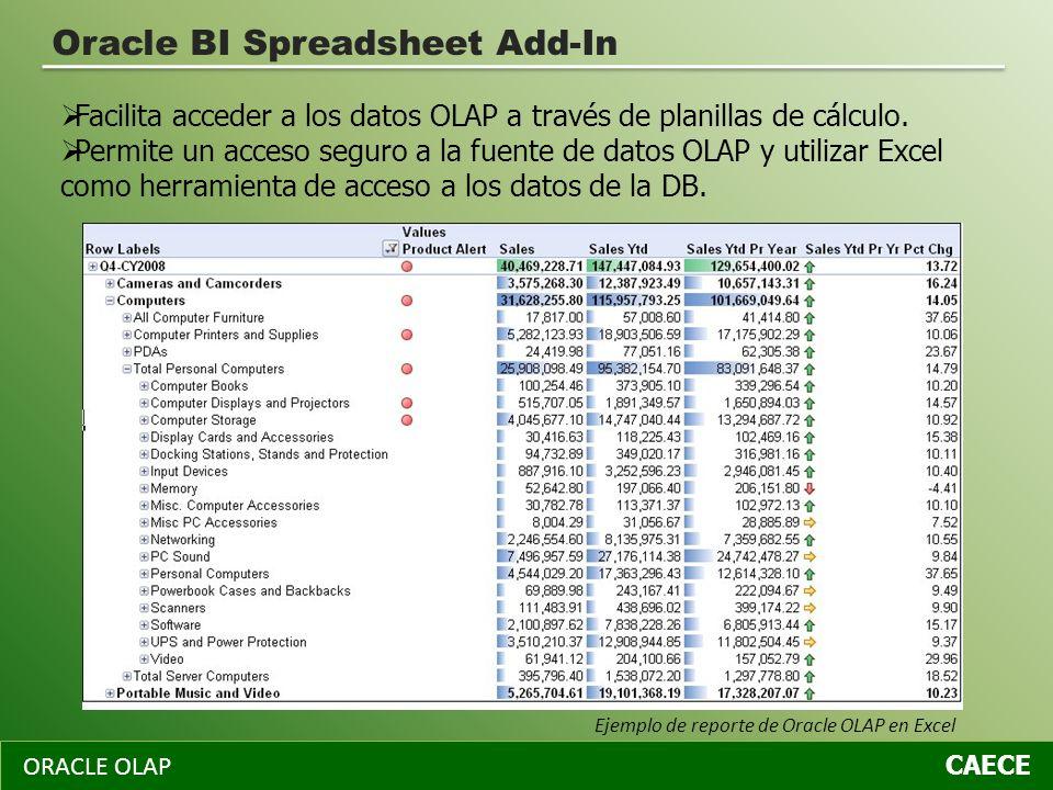 ORACLE OLAP CAECE Oracle BI Spreadsheet Add-In Facilita acceder a los datos OLAP a través de planillas de cálculo. Permite un acceso seguro a la fuent