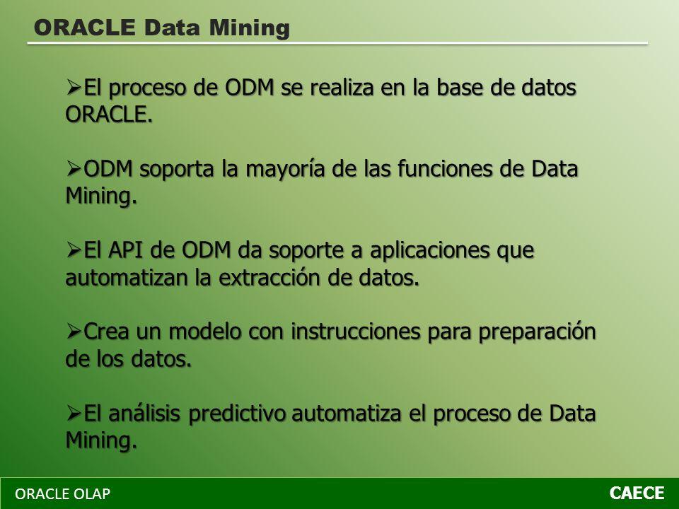 ORACLE OLAP CAECE ORACLE Data Mining El proceso de ODM se realiza en la base de datos ORACLE. El proceso de ODM se realiza en la base de datos ORACLE.