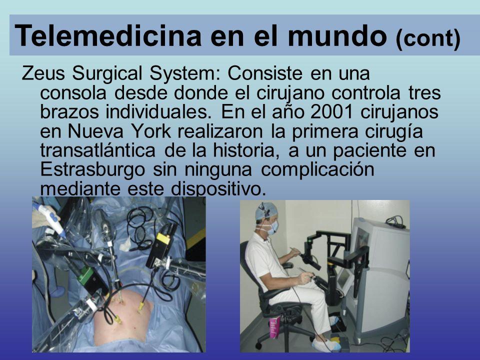 Zeus Surgical System: Consiste en una consola desde donde el cirujano controla tres brazos individuales. En el año 2001 cirujanos en Nueva York realiz