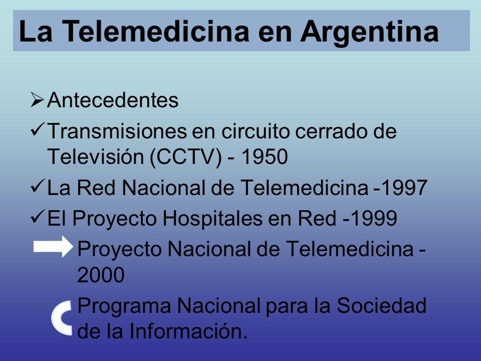 Antecedentes Transmisiones en circuito cerrado de Televisión (CCTV) - 1950 La Red Nacional de Telemedicina -1997 El Proyecto Hospitales en Red -1999 P