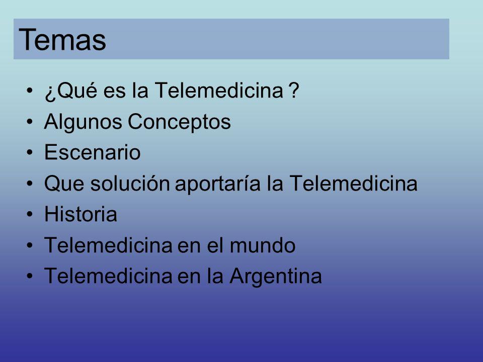 ¿Qué es la Telemedicina ? Algunos Conceptos Escenario Que solución aportaría la Telemedicina Historia Telemedicina en el mundo Telemedicina en la Arge