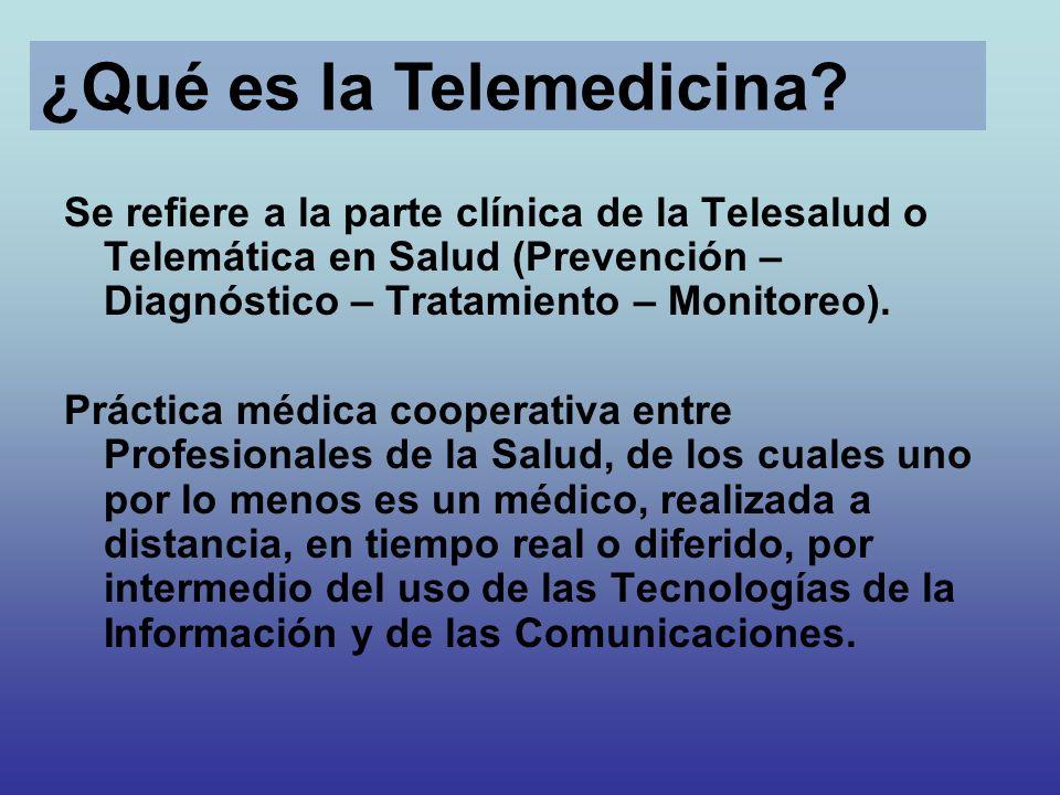 Se refiere a la parte clínica de la Telesalud o Telemática en Salud (Prevención – Diagnóstico – Tratamiento – Monitoreo). Práctica médica cooperativa