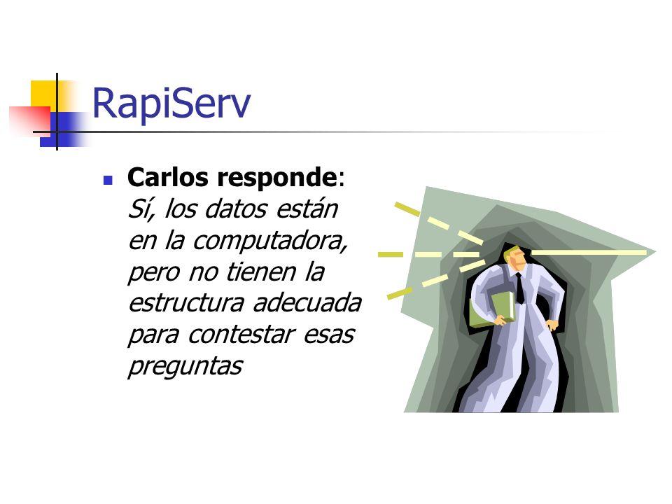 RapiServ Carlos responde: Sí, los datos están en la computadora, pero no tienen la estructura adecuada para contestar esas preguntas