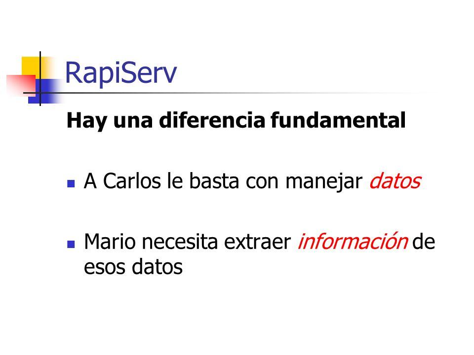 RapiServ Hay una diferencia fundamental A Carlos le basta con manejar datos Mario necesita extraer información de esos datos