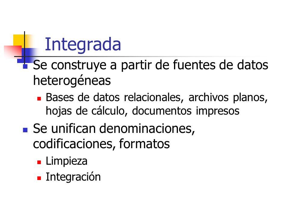 Integrada Se construye a partir de fuentes de datos heterogéneas Bases de datos relacionales, archivos planos, hojas de cálculo, documentos impresos S