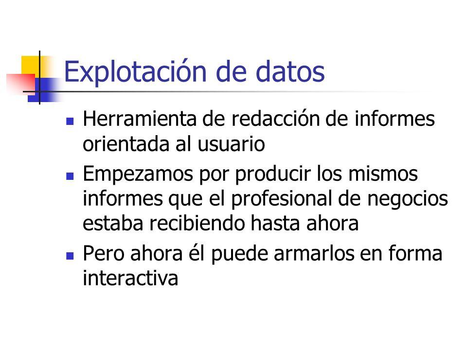 Explotación de datos Herramienta de redacción de informes orientada al usuario Empezamos por producir los mismos informes que el profesional de negoci
