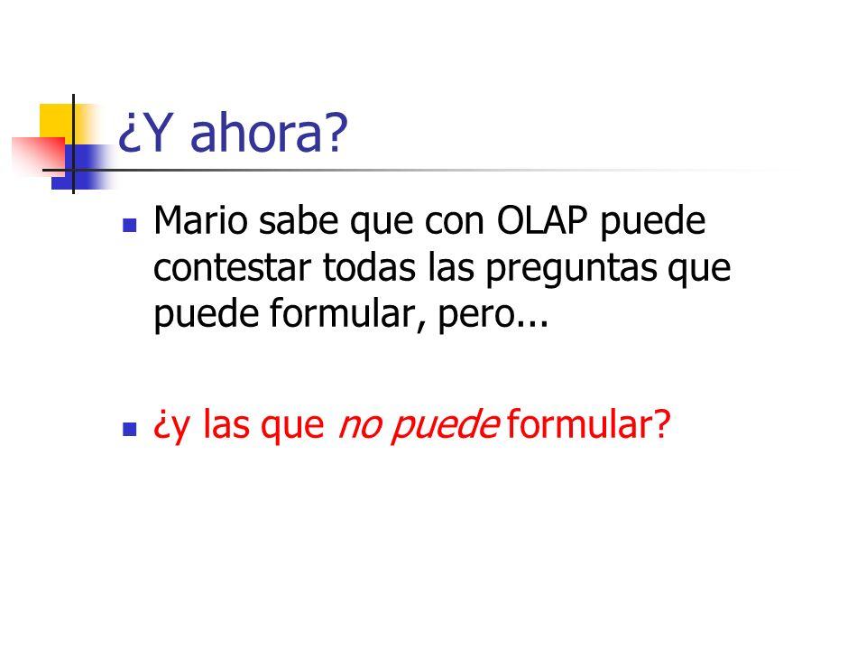 ¿Y ahora? Mario sabe que con OLAP puede contestar todas las preguntas que puede formular, pero... ¿y las que no puede formular?