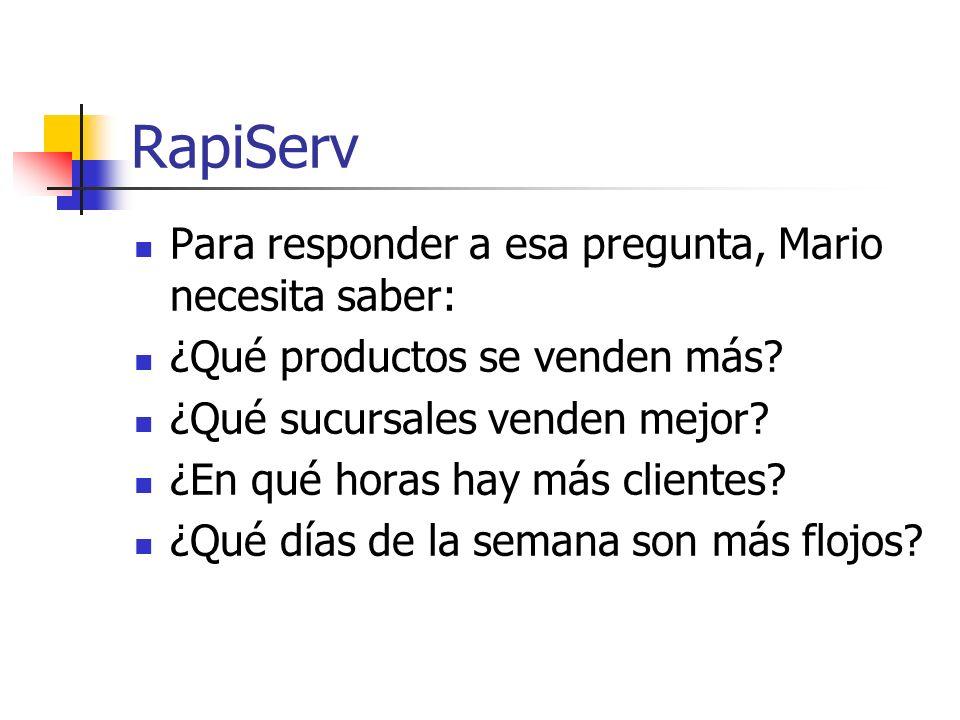 RapiServ Para responder a esa pregunta, Mario necesita saber: ¿Qué productos se venden más? ¿Qué sucursales venden mejor? ¿En qué horas hay más client