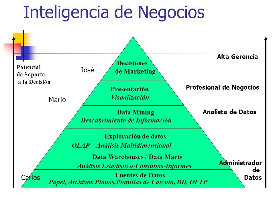 Potencial de Soporte a la Decisión Alta Gerencia Profesional de Negocios Analista de Datos Administrador de Datos Decisiones de Marketing Presentación