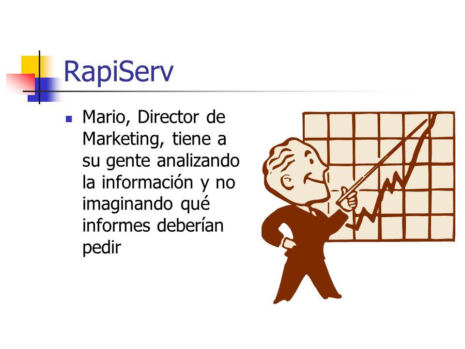 RapiServ Mario, Director de Marketing, tiene a su gente analizando la información y no imaginando qué informes deberían pedir