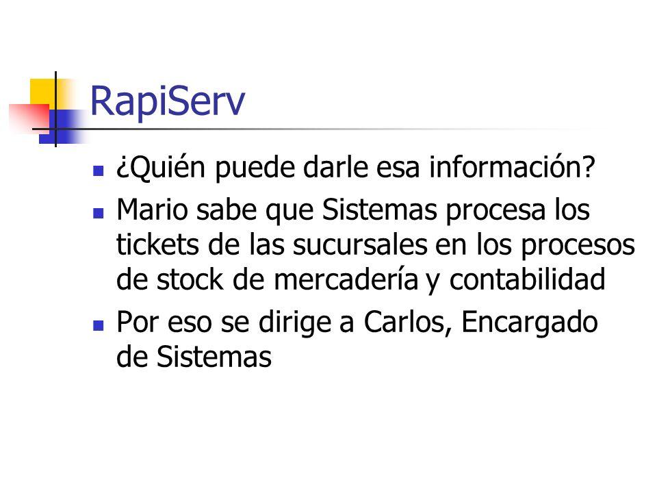 RapiServ ¿Quién puede darle esa información? Mario sabe que Sistemas procesa los tickets de las sucursales en los procesos de stock de mercadería y co