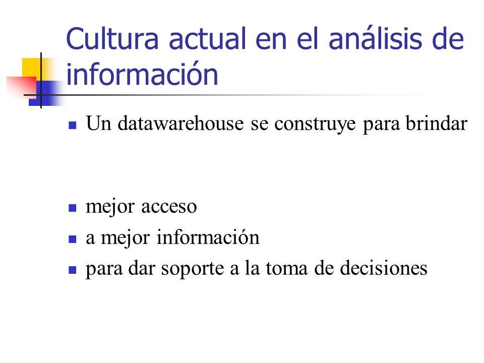 Cultura actual en el análisis de información Un datawarehouse se construye para brindar mejor acceso a mejor información para dar soporte a la toma de