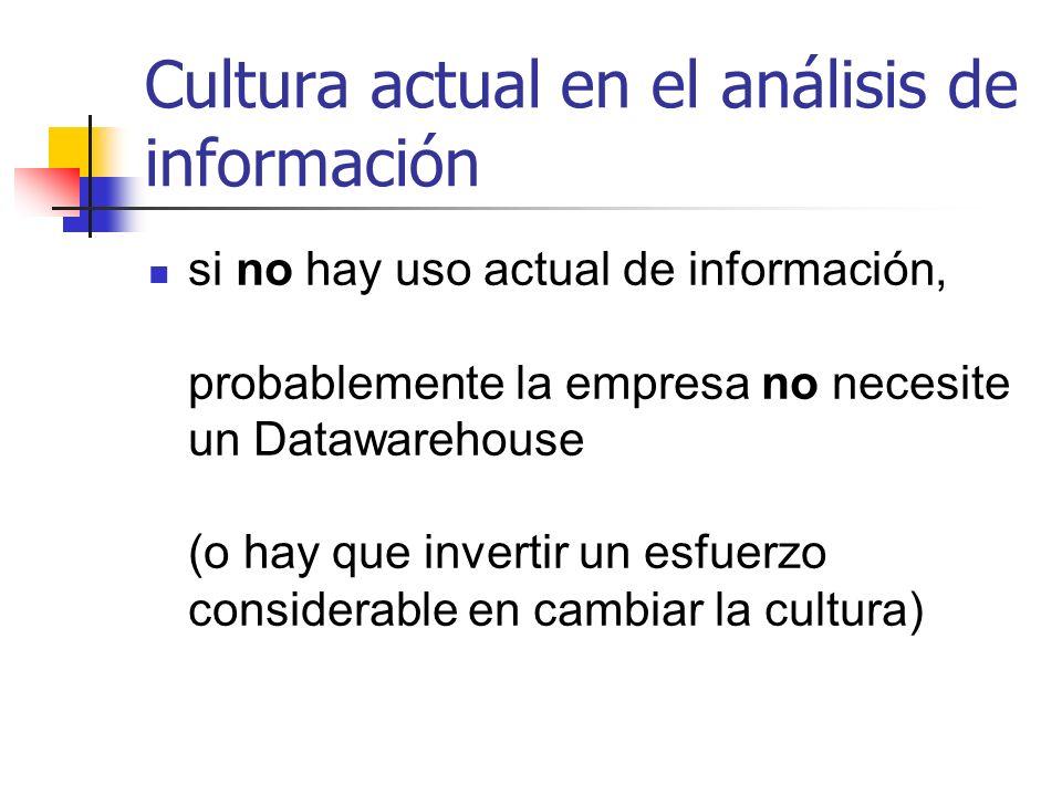 Cultura actual en el análisis de información si no hay uso actual de información, probablemente la empresa no necesite un Datawarehouse (o hay que inv