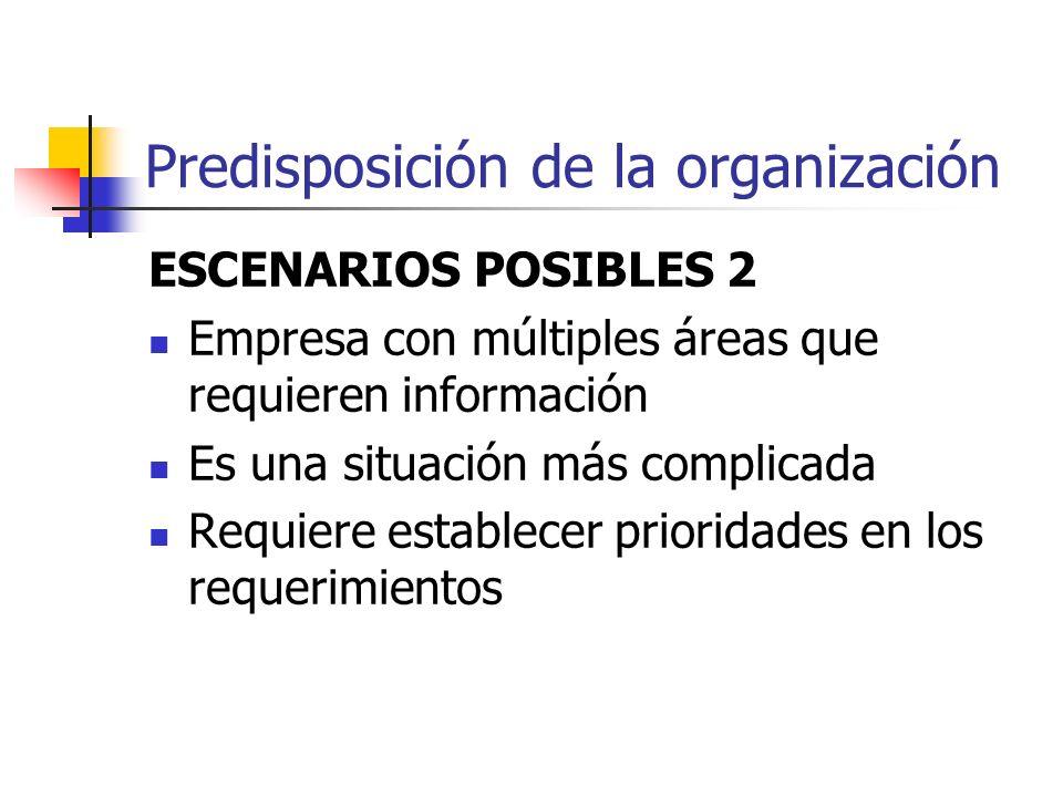 Predisposición de la organización ESCENARIOS POSIBLES 2 Empresa con múltiples áreas que requieren información Es una situación más complicada Requiere
