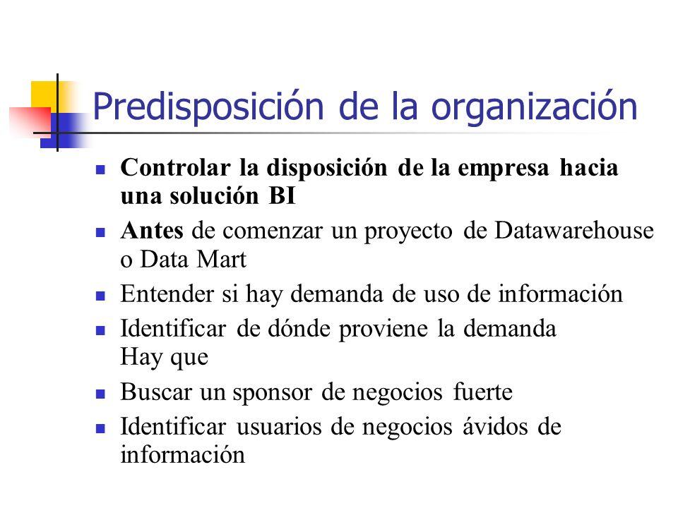 Predisposición de la organización Controlar la disposición de la empresa hacia una solución BI Antes de comenzar un proyecto de Datawarehouse o Data M