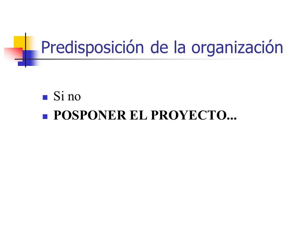 Predisposición de la organización Si no POSPONER EL PROYECTO...