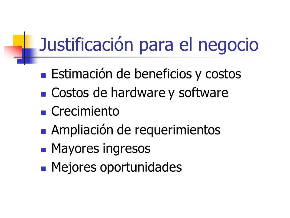Justificación para el negocio Estimación de beneficios y costos Costos de hardware y software Crecimiento Ampliación de requerimientos Mayores ingreso