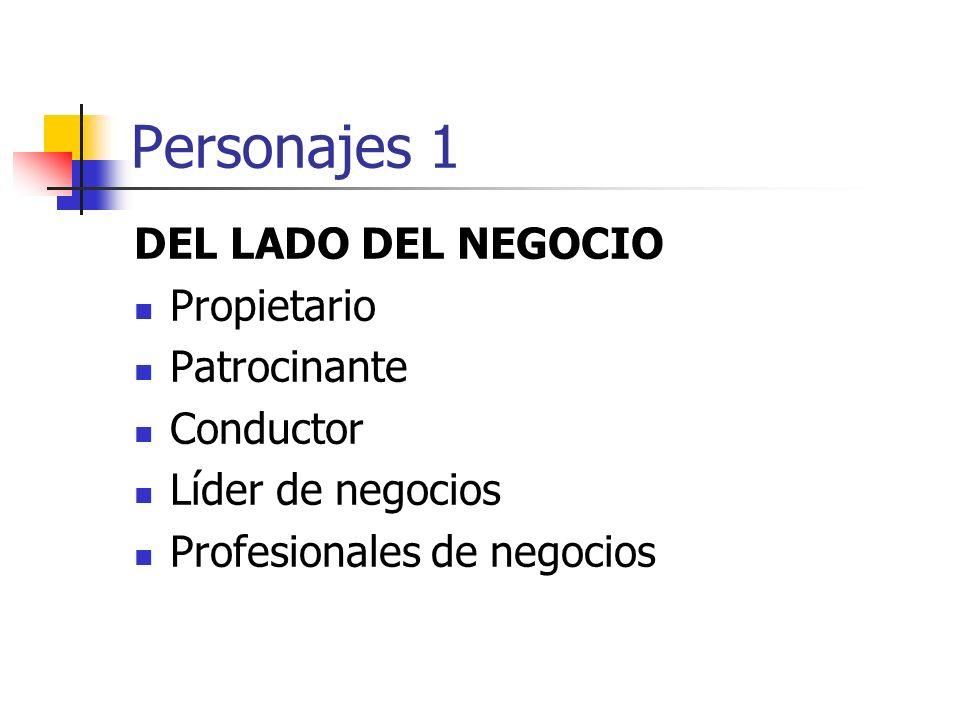 Personajes 1 DEL LADO DEL NEGOCIO Propietario Patrocinante Conductor Líder de negocios Profesionales de negocios