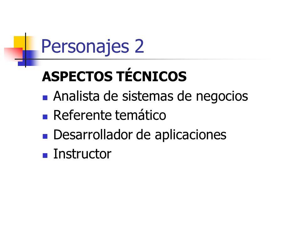 Personajes 2 ASPECTOS TÉCNICOS Analista de sistemas de negocios Referente temático Desarrollador de aplicaciones Instructor