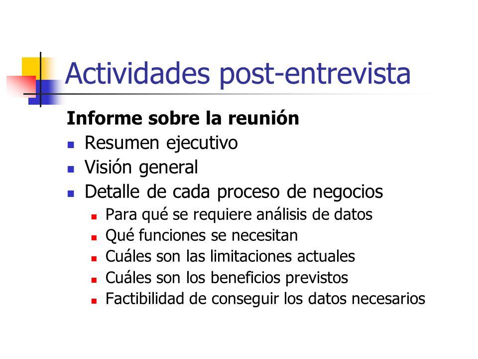 Actividades post-entrevista Informe sobre la reunión Resumen ejecutivo Visión general Detalle de cada proceso de negocios Para qué se requiere análisi