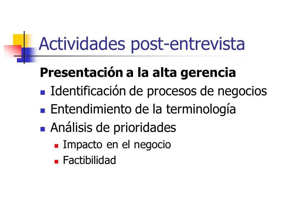 Actividades post-entrevista Presentación a la alta gerencia Identificación de procesos de negocios Entendimiento de la terminología Análisis de priori
