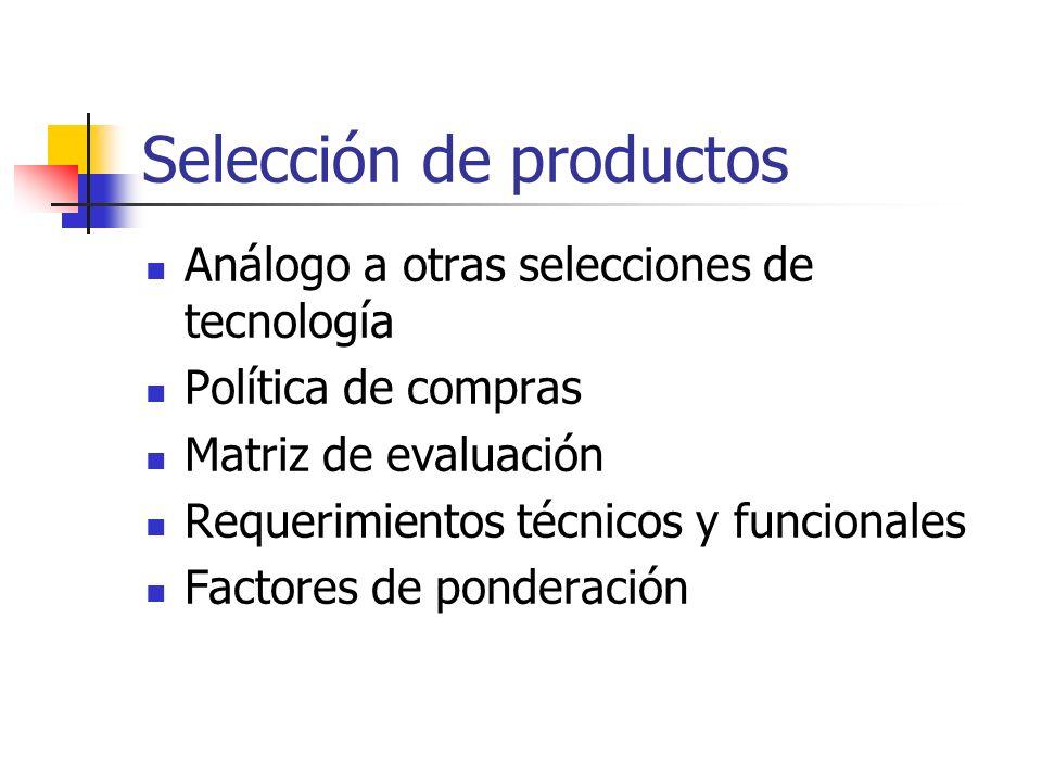 Selección de productos Análogo a otras selecciones de tecnología Política de compras Matriz de evaluación Requerimientos técnicos y funcionales Factor