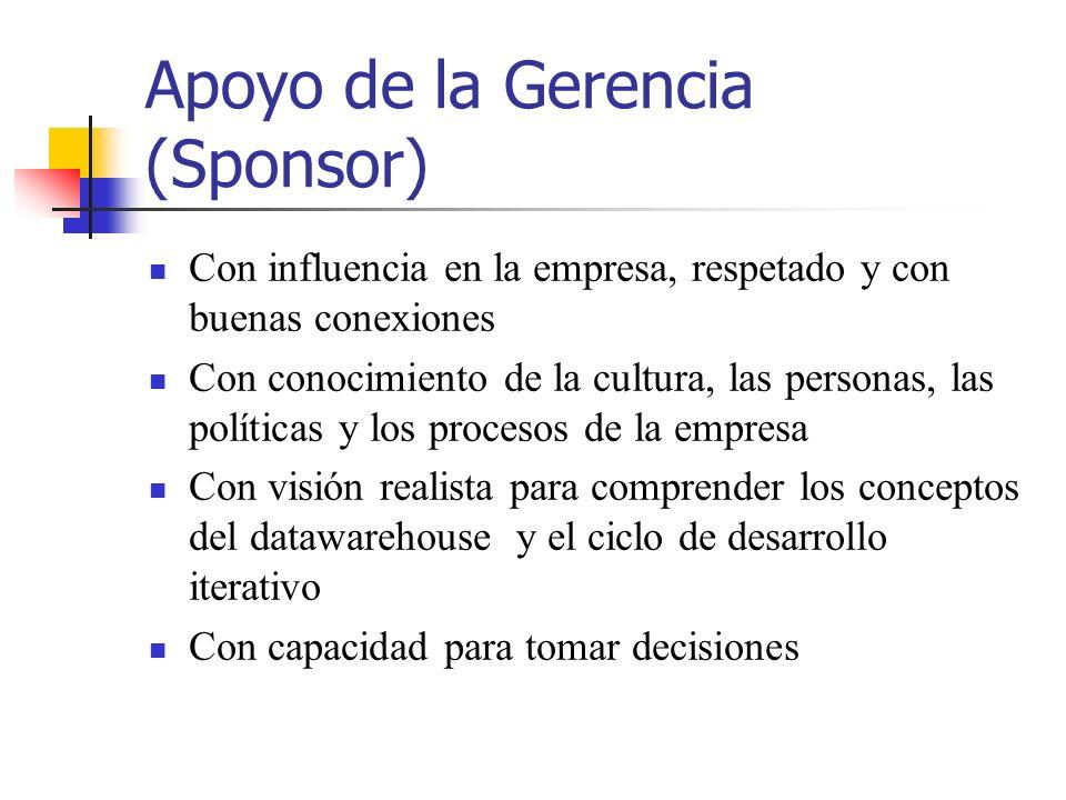 Apoyo de la Gerencia (Sponsor) Con influencia en la empresa, respetado y con buenas conexiones Con conocimiento de la cultura, las personas, las polít