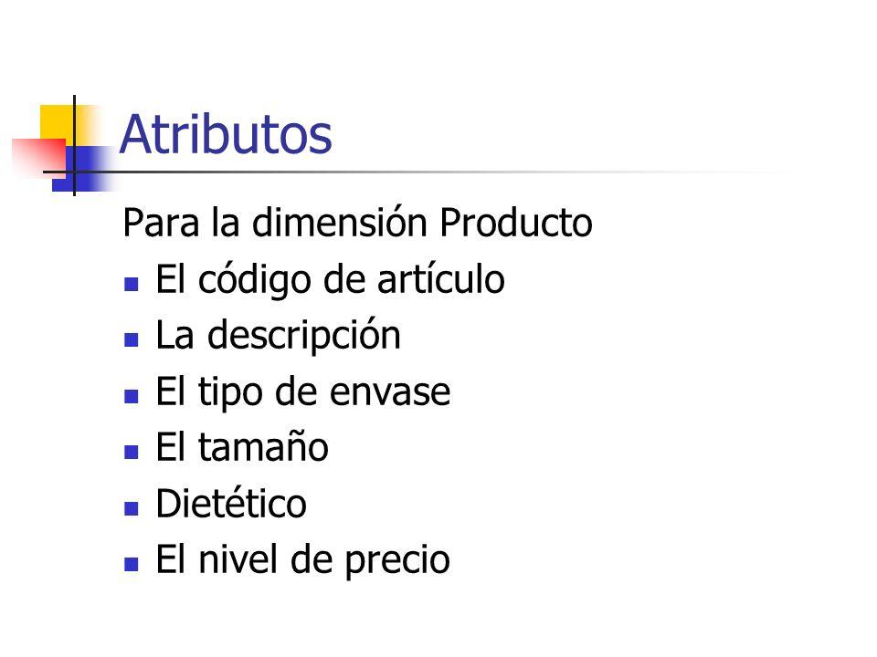 Atributos Para la dimensión Producto El código de artículo La descripción El tipo de envase El tamaño Dietético El nivel de precio