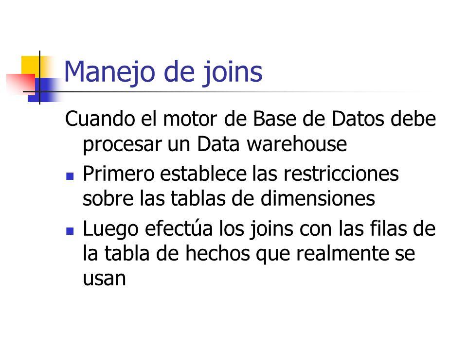 Manejo de joins Cuando el motor de Base de Datos debe procesar un Data warehouse Primero establece las restricciones sobre las tablas de dimensiones L