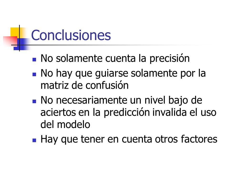 Conclusiones No solamente cuenta la precisión No hay que guiarse solamente por la matriz de confusión No necesariamente un nivel bajo de aciertos en l