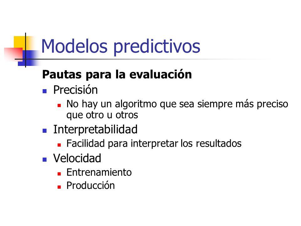 Modelos predictivos Pautas para la evaluación Precisión No hay un algoritmo que sea siempre más preciso que otro u otros Interpretabilidad Facilidad p