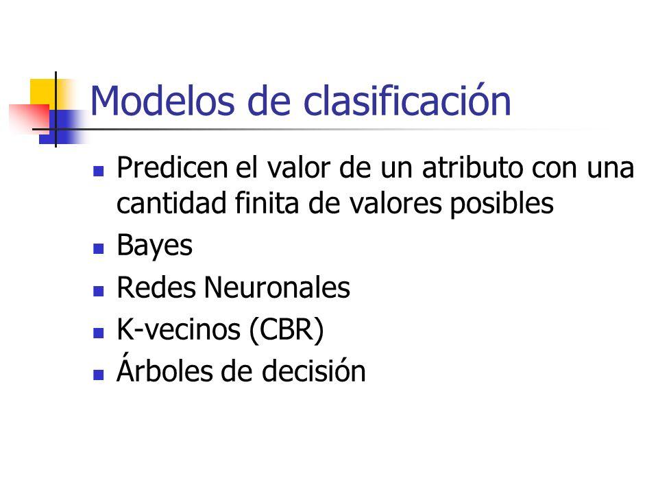 Modelos de clasificación Predicen el valor de un atributo con una cantidad finita de valores posibles Bayes Redes Neuronales K-vecinos (CBR) Árboles d