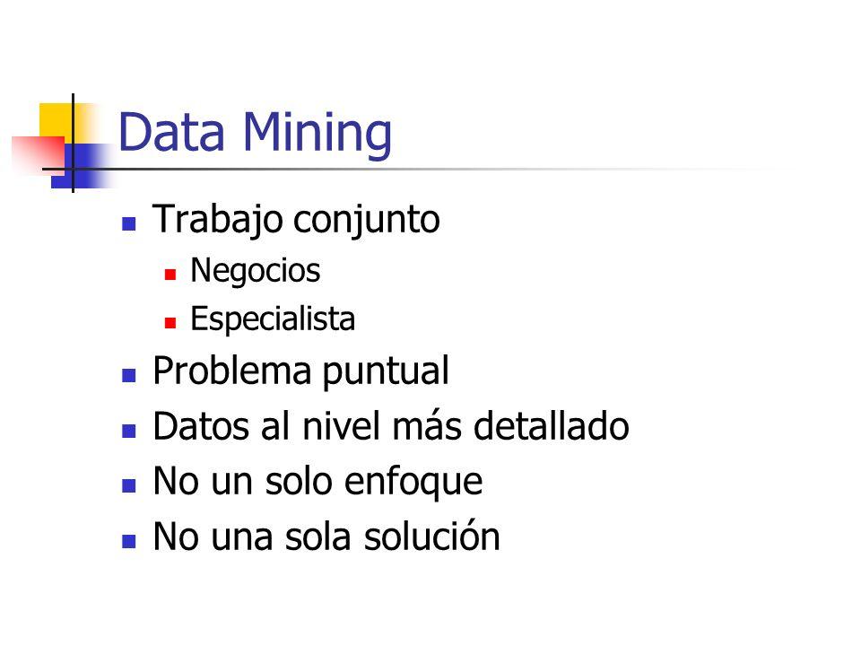 El proceso de Data Mining Se define el problema Hay que entender el negocio Hay que entender los datos Se construye la base de datos para Data Mining Recolección Selección Depuración Carga Actualización