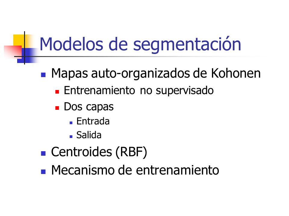 Modelos de segmentación Mapas auto-organizados de Kohonen Entrenamiento no supervisado Dos capas Entrada Salida Centroides (RBF) Mecanismo de entrenam