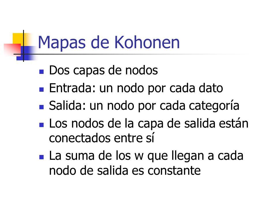 Mapas de Kohonen Dos capas de nodos Entrada: un nodo por cada dato Salida: un nodo por cada categoría Los nodos de la capa de salida están conectados